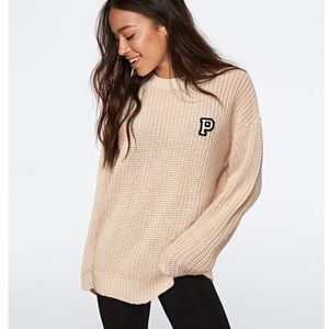 VS PINK Heritage Chunky Knit Sweater M oatmeal